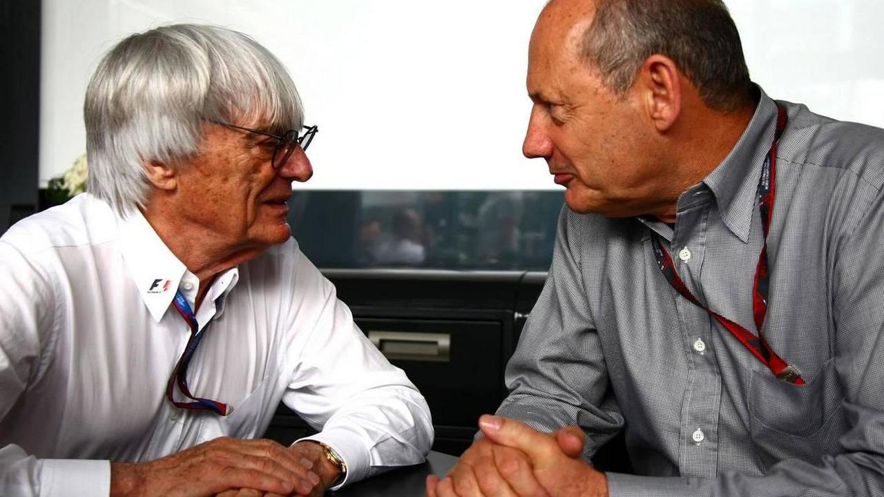 Bernie Ecclestone (GBR) and Ron Dennis (GBR), McLaren, - Formula 1 World Championship, Rd 8, Canadian Grand Prix, 12.06.2010 Montreal, Canada
