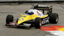 Alain Prost with his 1983 Renault F1
