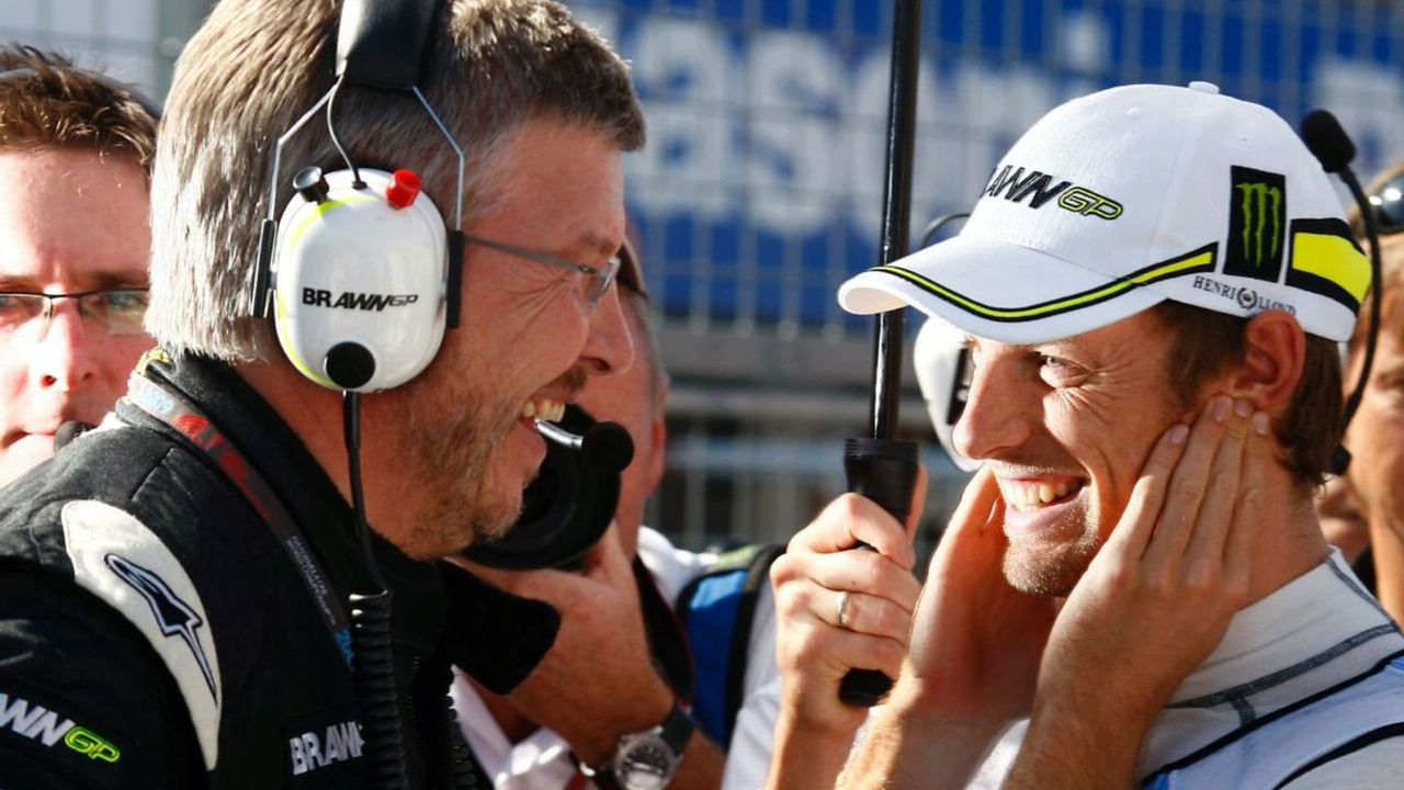 Ross Brawn and Jenson Button on the grid