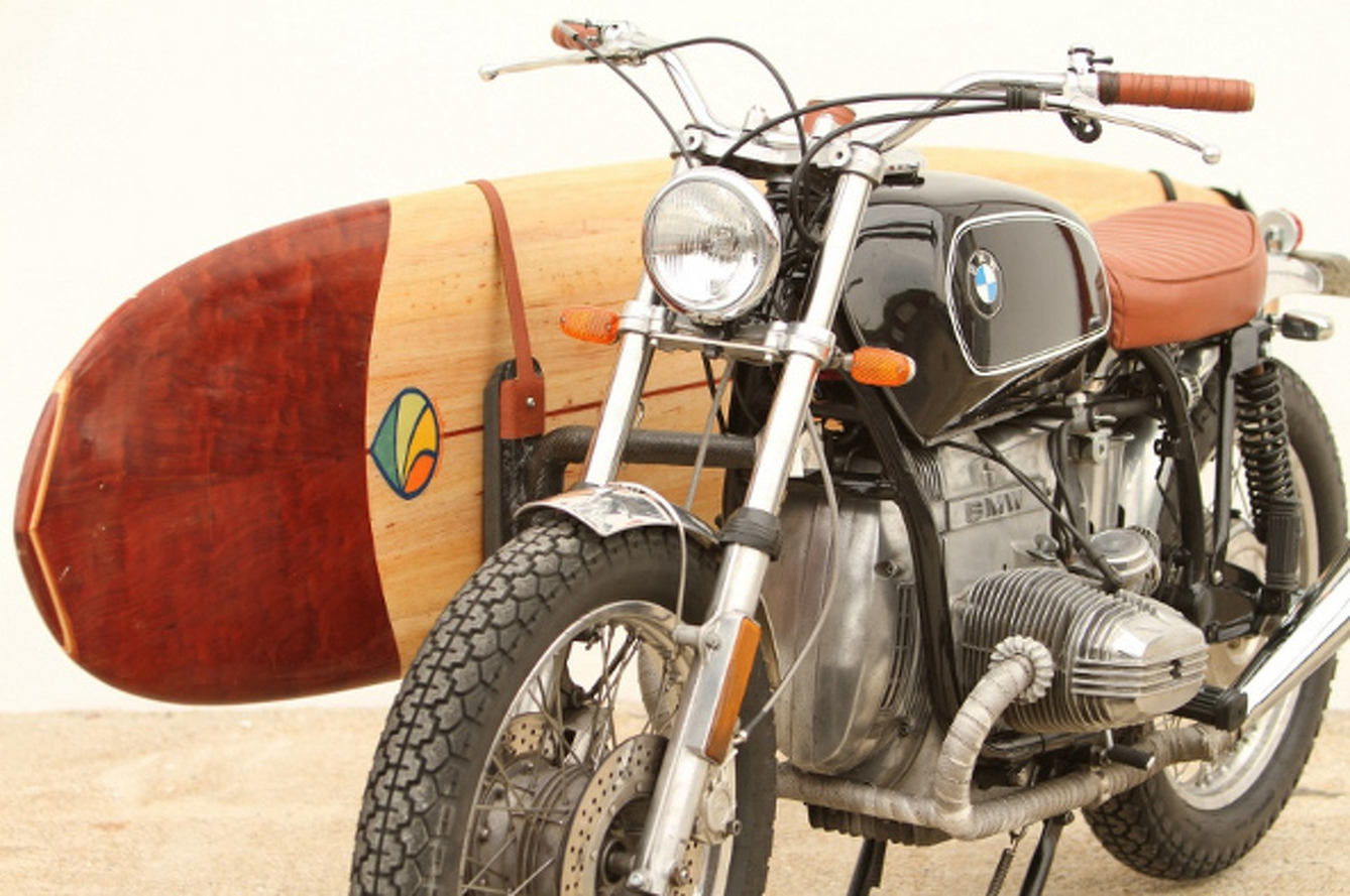 Vintage BMW Motorcycle and Surfboard Combo Defines Style