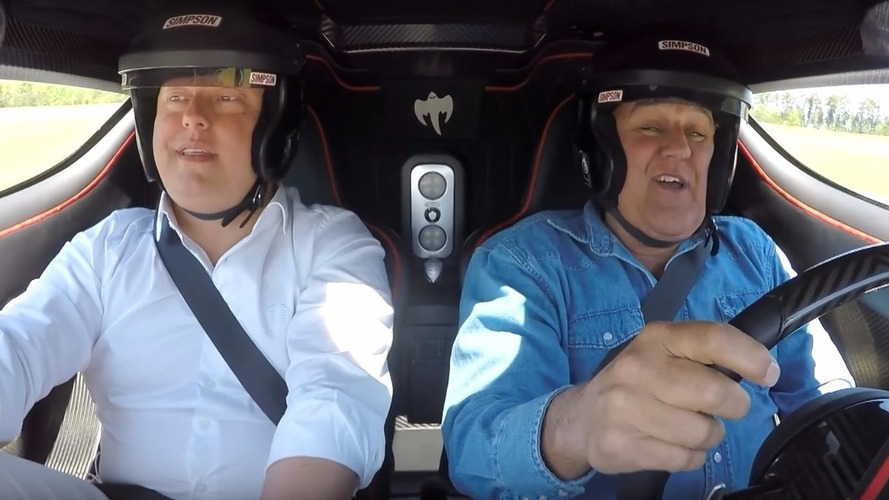 Jay Leno takes the Koenigsegg One:1 for a spin
