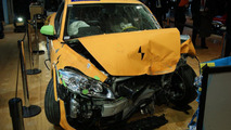 Volvo displays crashed C30 Electric in Detroit