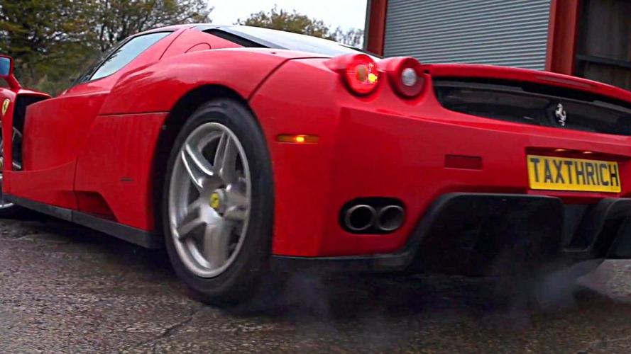 Ferrari Enzo power slides in slow motion [video]