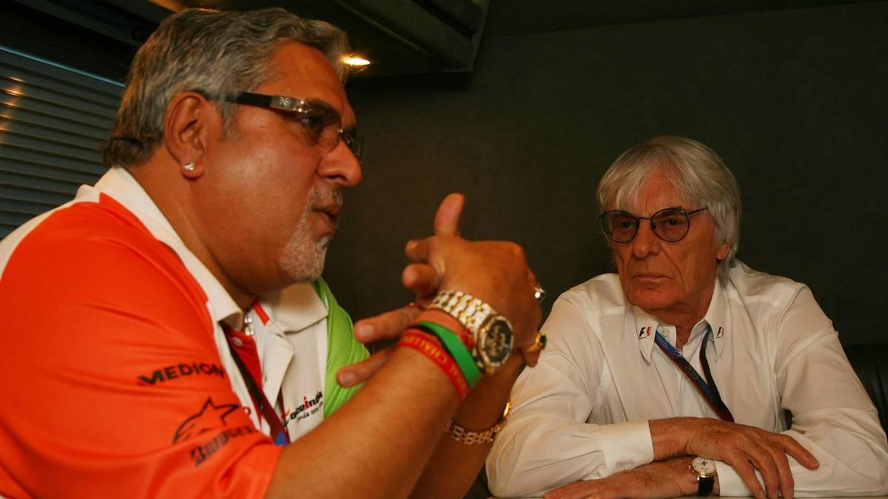 Bernie Ecclestone (GBR) and Vijay Mallya (IND) Force India F1 Team Owner interview - Formula 1 World Championship, Rd 5, Spanish Grand Prix, 08.05.2010 Barcelona, Spain
