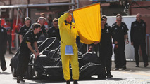 The Renault Sport F1 Team RS16 of Jolyon Palmer, Renault Sport F1 Team is recoverd back to the pits