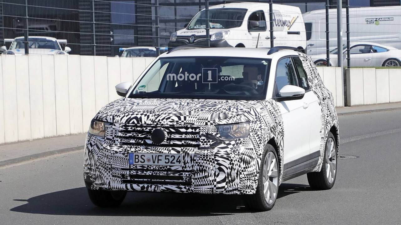 2019 vw t cross spied looking cute ahead of debut update. Black Bedroom Furniture Sets. Home Design Ideas