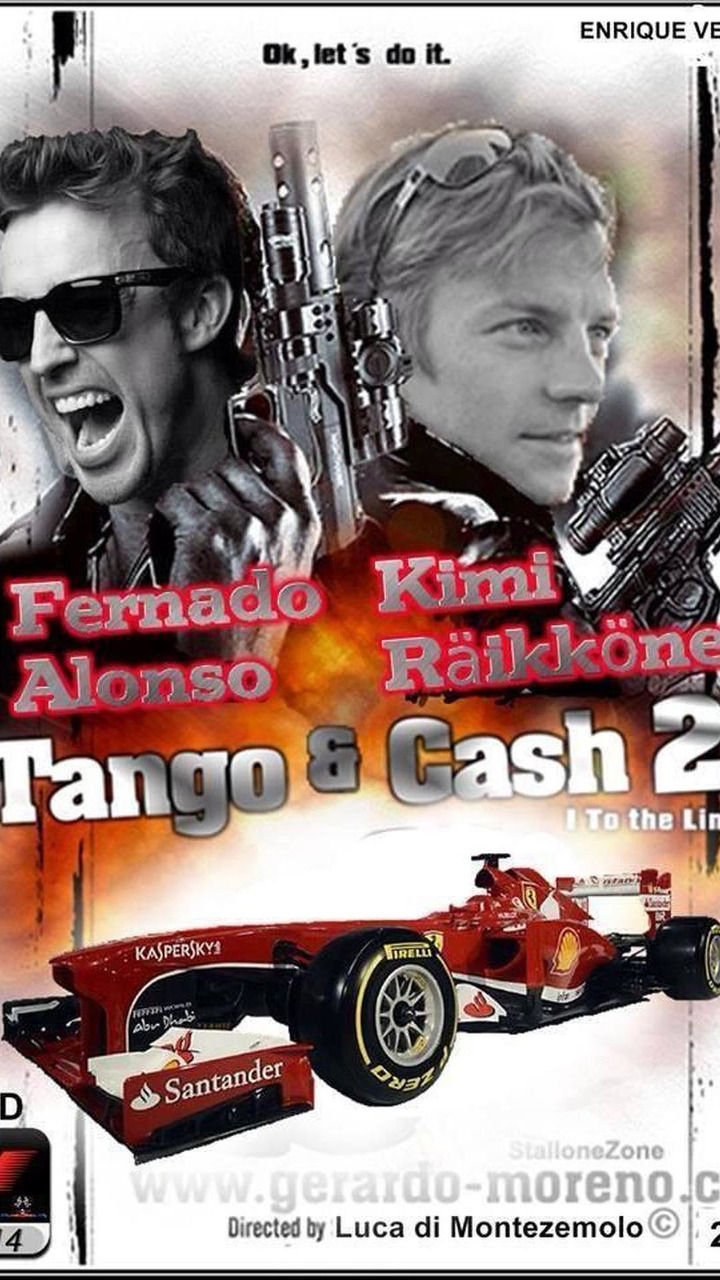 Fernando Alonso and Kimi Raikkonen Tango and Cash 2 satirical movie poster