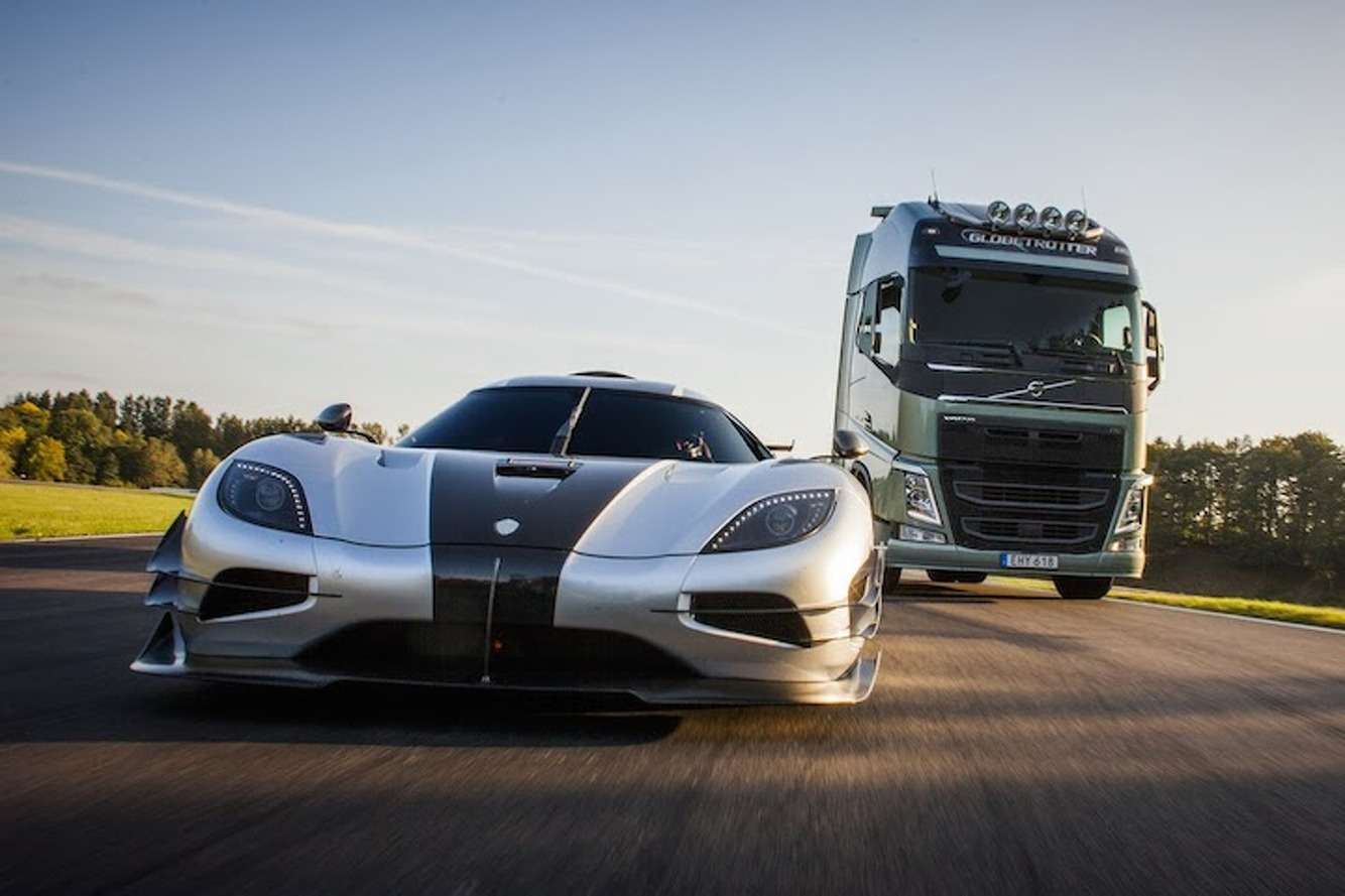 Koenigsegg Agera One:1 Takes on a…Volvo Big Rig?