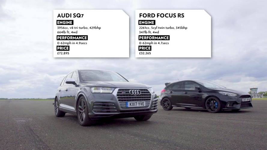 Which One Wins? Audi SQ7 Drag Races Ford Focus RS