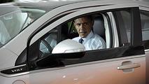 Barack Obama in a Chevrolet Volt