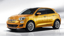 Fiat 500 five-door hatchback rendered
