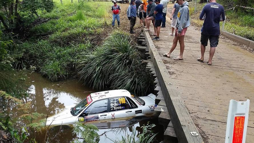 Scary Rally Australia Crash Leaves Car Underwater