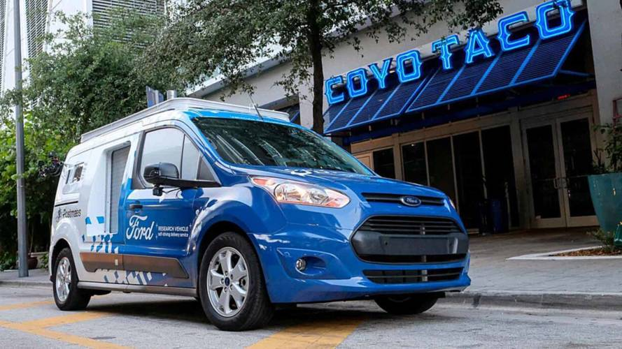 Ford's Fake Autonomous Transit Connect Is Ready To Deliver Dinner