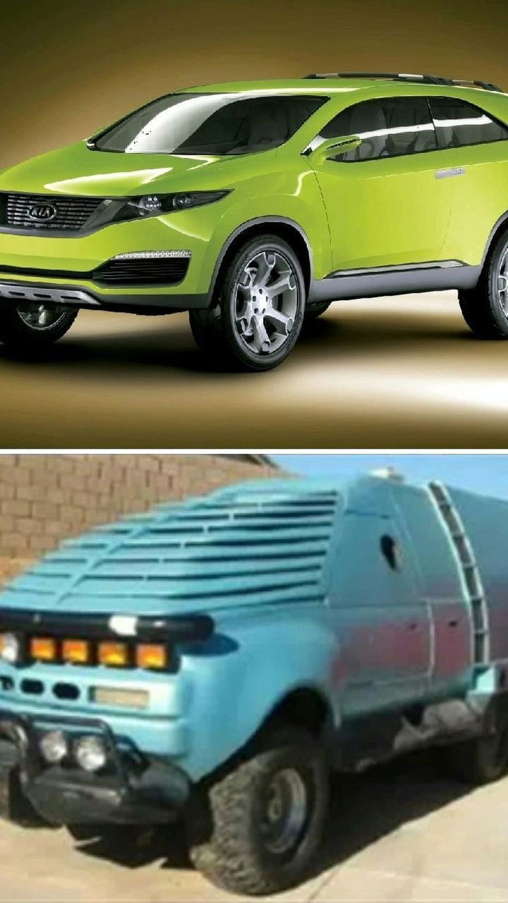 Top: Kia KND-4 Concept; Bottom: Tango & Cash Monster Truck