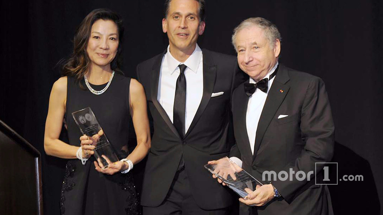FIA President Jean Todt and his wife Michelle Yeoh accept the Humanitarian of the Year Award from the United Nations Association of New York
