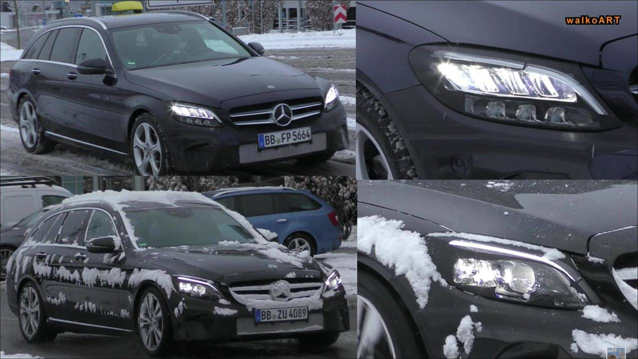 2018 mercedes c class wagons spied with two types of headlights. Black Bedroom Furniture Sets. Home Design Ideas