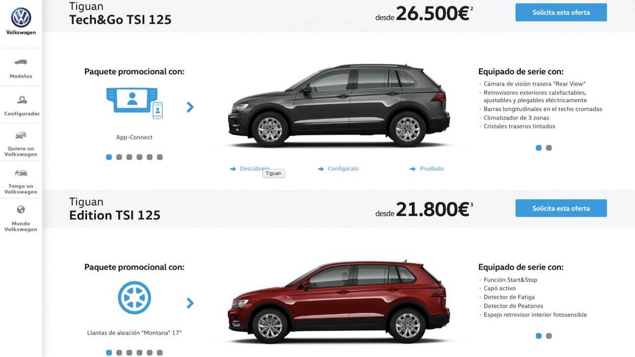 Volkswagen Tiguan 2018, desde 26.500 y 21.800 euros
