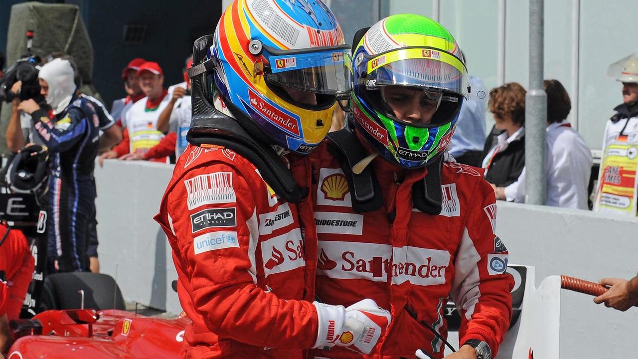 Felipe Massa & Fernando Alonso celebrate a return to form during qualifying for the 2010 German Grand prix
