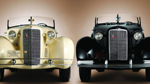 1934 rumbleseat roadster model 5802 (left) / 1937 Phaeton model 5859 (right)