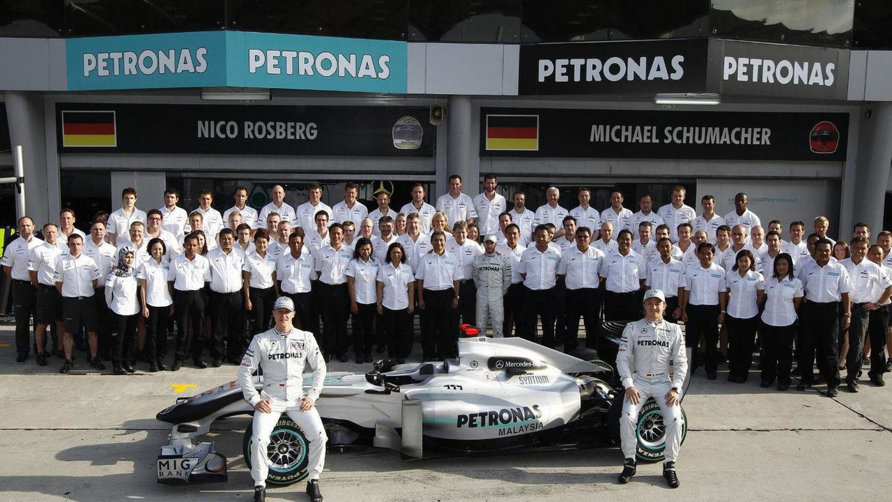 Mercedes GP Petronas team photo, Sepang, Malaysia, 02.04.2010