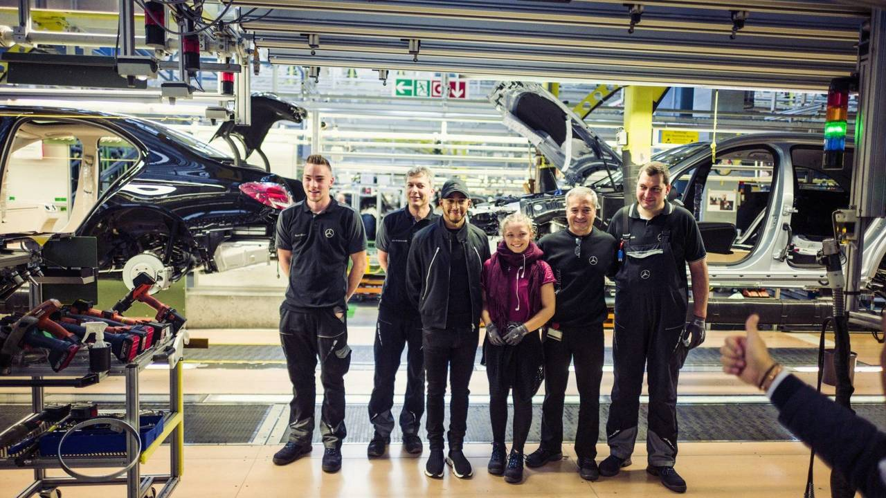 Lewis Hamilton in Sindelfingen at the Mercedes factory