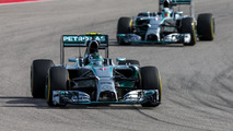 Nico Rosberg (GER) Mercedes leads team mate Lewis Hamilton (GBR), 02.11.2014, United States Grand Prix, Austin, Texas / XPB