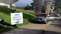 BMW set on fire in protest