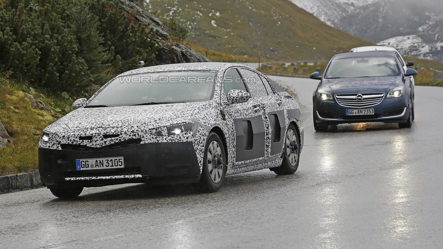 Sleeker 2017 Opel Insignia spied in the Alps testing alongside current model