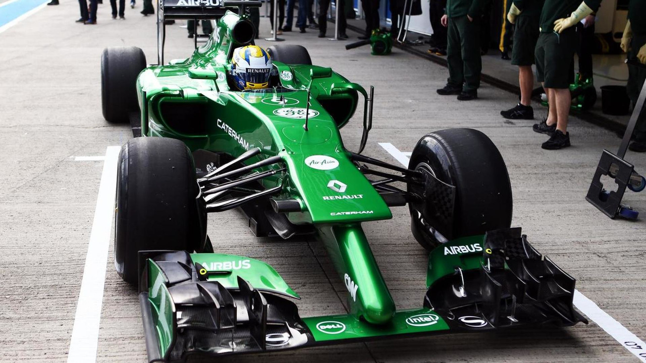 Marcus Ericsson runs the Caterham CT04 for the first time 28.01.2014 Formula One Testing Jerez Spain