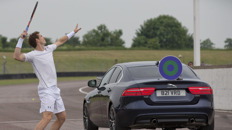 Andy Murray fights Jaguar F-Type SVR in bizarre tennis match