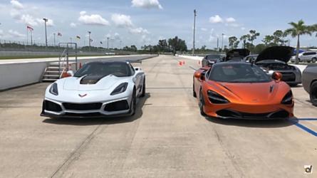 Corvette ZR1 Duels McLaren 720S In Quarter Mile And Rolling Races