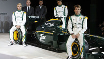 Tony Fernandes (MAL), Malaysia Racing Team Principal, Jarno Trulli (ITA), Fairuz Fauzy (MAL) and Heikki Kovalainen (FIN) - Lotus Cosworth Racing Launch - Formula 1 launch, 12.02.2010, London, England