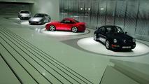 "The exhibition: The ""evolution of the Porsche 911"" theme presents on rotating pedestals the Porsche 911"