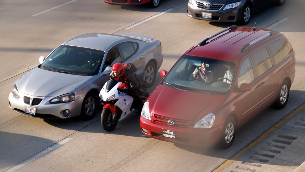 Lane-splitting motorcycle