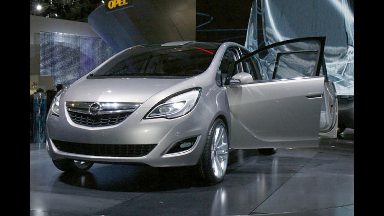 Opel Meriva Concept: Vorschau auf die nächste Modellgeneration mit gegenläufig öffnenden Türen und flexiblem Innenraumkonzept