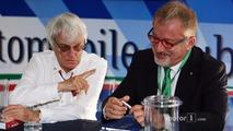 (L to R): Bernie Ecclestone with Roberto Maroni, Lombardia Region President at a Monza circuit announcement