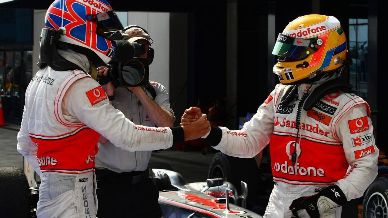 Lewis Hamilton & Jenson Button celebrate a McLaren 1-2 at the 2010 Turkish Grand Prix