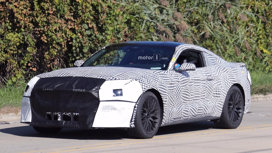 2018 Ford Mustang GT spied in updated body underneath polka dot camo