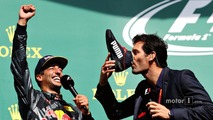Podium- Daniel Ricciardo, Red Bull Racing with Mark Webber