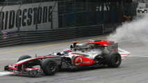 Jenson Button (GBR), McLaren Mercedes stop on track because of mechanical problem- Formula 1 World Championship, Rd 6, Monaco Grand Prix
