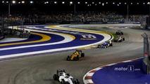 Felipe Massa, Williams FW38 Mercedes, leads Kevin Magnussen, Renault Sport F1 Team RS16 and Marcus Ericsson, Sauber C35 Ferrari