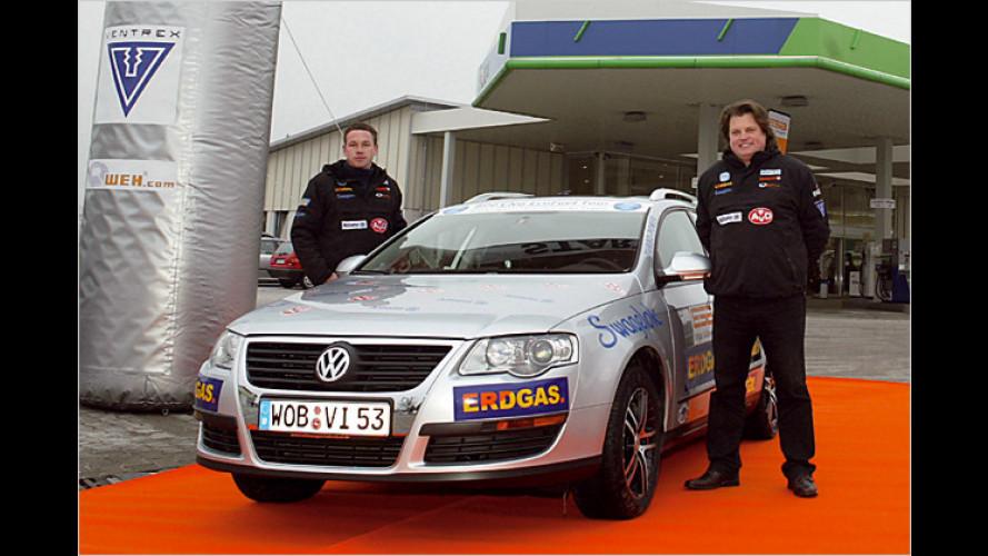 VW Passat mit Erdgasantrieb auf Tankstellentour