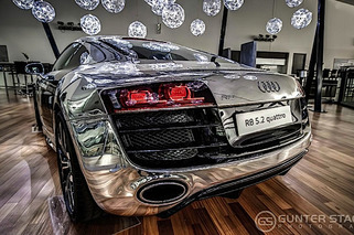 Jaw Dropper: Audi R8 Coated in Polished Raw Aluminum
