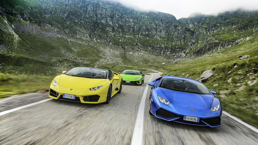 Seis Lamborghini Huracan 2017 y la mejor carretera del mundo
