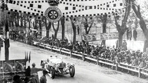 Caracciola passing the finish line in Brescia
