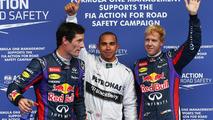 Pole for Lewis Hamilton (GBR) Mercedes AMG F1, 2nd for Sebastian Vettel (GER) Red Bull Racing and 3rd for Mark Webber (AUS) Red Bull Racing