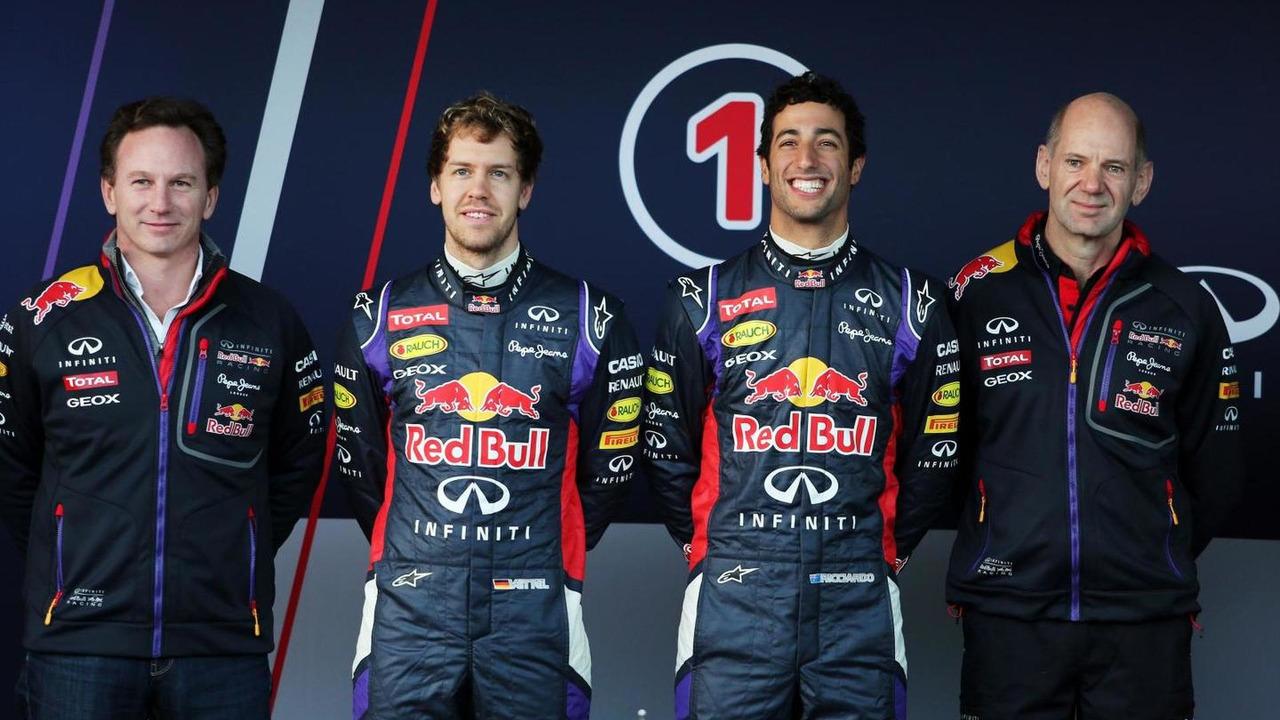 Christian Horner, Sebastian Vettel, Daniel Ricciardo and Adrian Newey 28.01.2014 Formula One Testing Jerez Spain