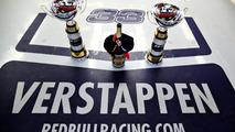The winning trophies of Max Verstappen, Red Bull Racing