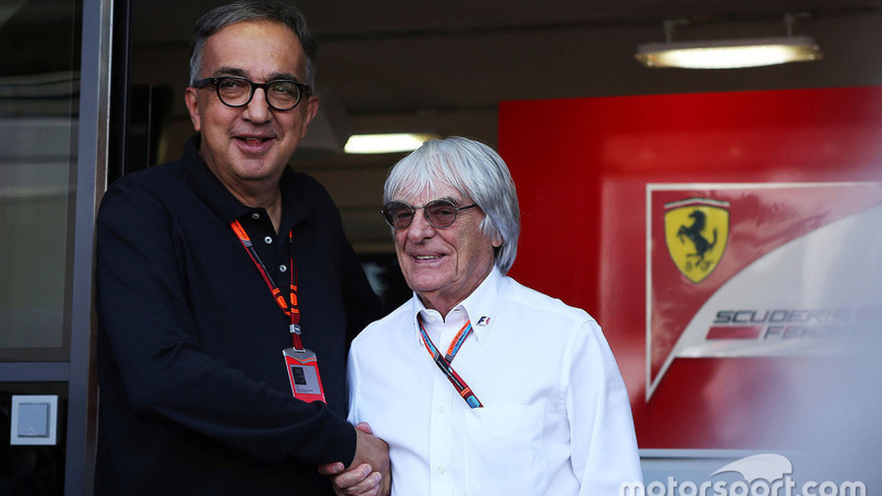 Sergio Marchionne, Ferrari President and CEO of Fiat Chrysler Automobiles with Bernie Ecclestone