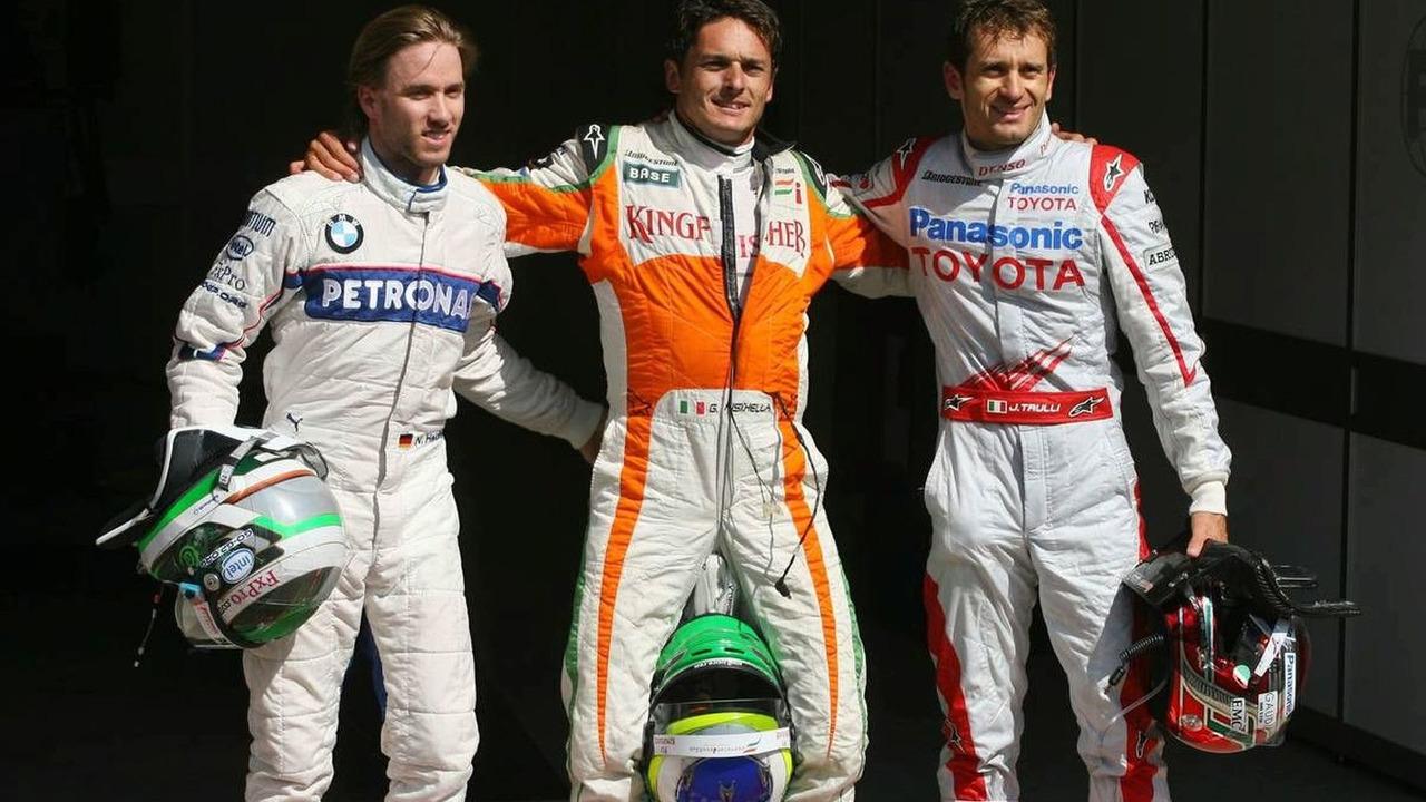 Nick Heidfeld (GER), Giancarlo Fisichella (ITA), Jarno Trulli (ITA), qualifying, Belgian Grand Prix, Francorchamps, Belgium 29.08.2009